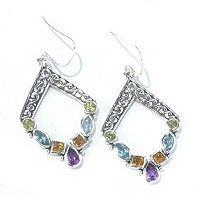 SS MULTI GEM DIAMOND-SHAPED EARRINGS