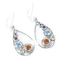 SS MULTI GEM TEARDROP EARRINGS