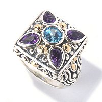 SS 18K AMETHYST & BLUE TOPAZ SQUARE RING