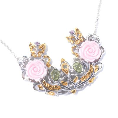 "129-831 - Gems en Vogue II 20"" Queen Conch Shell, Pink Sapphire & Peridot Garden Necklace"