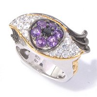 SS/PALL RING AMETHYST, BLK SPINEL, & WHT ZIRCON EYE