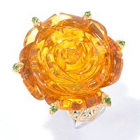 SS/PALL RING 25MM CARVED AMBER ROSE & CHROME DIOPSIDE