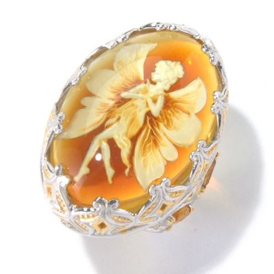 129-841 - Gems en Vogue II Carved Amber Fairy Intaglio & Multi Gemstone Ring