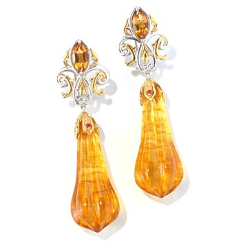 129-842 - Gems en Vogue II Fluted Amber & Multi Gemstone Drop Earrings w/ Omega Backs