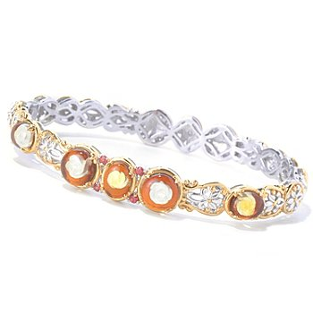 129-843 - Gems en Vogue II 7.25'' Carved Amber Rose Intaglio & Orange Sapphire Bangle Bracelet