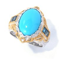 SS/PALL RING SLEEPING BEAUTY TURQUOISE w/ PRINCESS LBT & WHT SAPH
