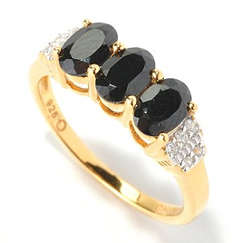 129-853 - NYC II 1.55ctw Black Spinel & White Zircon Three-Stone Ring