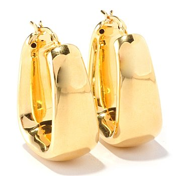 129-858 - Portofino Gold Embraced™ Electroform Polished Cube Hoop Earrings