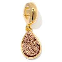 SS/18KGP CHARM PEAR-SHAPED DRUSY DROP ENHANCER