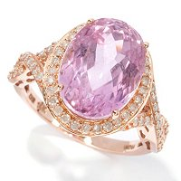 10X14 Oval Kunzite & .50ct Diamond Ring