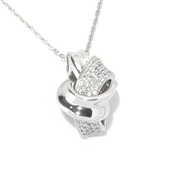 129-875 - Gem Treasures Sterling Silver White Sapphire Abstract Knot Pendant w/ Chain