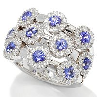 SB SS/CHOICE GENUINE GEMSTONE AND BRILLIANTE HALO TEN STONE DREAM FIT RING