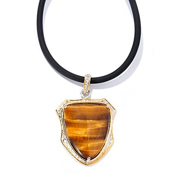 129-885 - Men's en Vogue II 27 x 21mm Tiger's Eye Shield Pendant w/ 22'' Rubber Cord