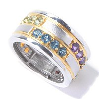 MEN'S - SS/PALL RING MULTI GEMSTONE ETERNITY BAND