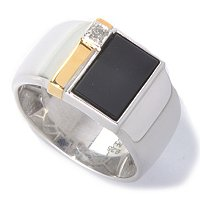MEN'S - SS/PALL RING BLACK ONYX & DIAMOND