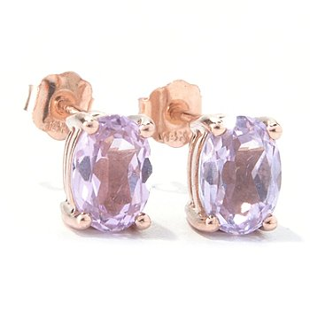129-922 - Gem Treasures 14K Rose Gold 3.26ctw Kunzite Stud Earrings