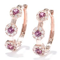 "SB SS/CHOICE GENUINE GEM AND BRILL HALO STATION 1"" OVAL HOOP EARRINGS"