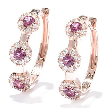 "129-923 - Sonia Bitton Genuine Gemstone & Brilliante® Halo 1"" Hoop Earrings"