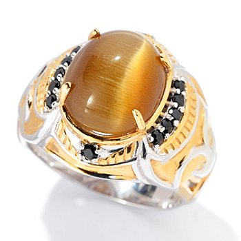 129-925 - Men's en Vogue II 13 x 11mm Cat's Eye Quartz & Black Spinel Ring