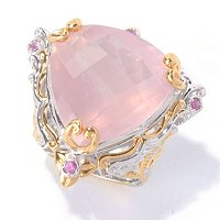 SS/PALL RING TRILLION ROSE QUARTZ & PINK SAPH