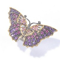 SS/PALL RING MULTI GEMSTONE BUTTERFLY