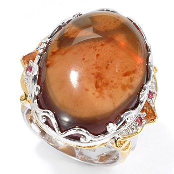 129-928 - Gems en Vogue II 25 x 18mm Sumatran Fluorescent Amber, Citrine & Orange Sapphire Ring