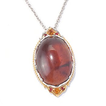 129-929 - Gems en Vogue II 25 x 18mm Sumatran Fluorescent Amber & Multi Gemstone Pendant w/ Chain