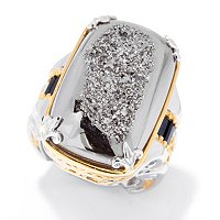 SS/PALL RING WINDOW DRUSY & BLACK SPINEL BAGUETTE