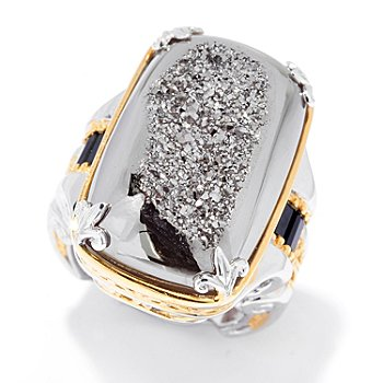 129-931 - Gems en Vogue II 25 x 15mm Window Drusy & Black Spinel Ring