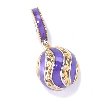 129-932 - Gems en Vogue II Purple Enamel Swirl Bead Drop Charm