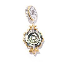 SS/PALL CHARM CARVED MOP FLOWER DOUBLE-SIDED DROP