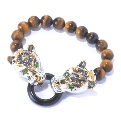 "129-938 - Gems en Vogue II 8"" Beaded Tiger's Eye & Multi Gemstone Panther Bracelet"
