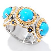 SS/PALL RING SLEEPING BEAUTY TURQUOISE & BLUE SAPH BAND