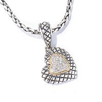SS/ 18K HEART PAVED DIAMOND PENDANT