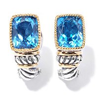 SS/ 18K BLUE TOPAZ EARRINGS