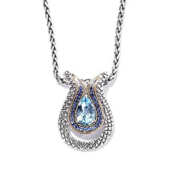 129-951 - Sterling Artistry by Effy 3.56ctw Blue Topaz & Sapphire Pendant w/ 18'' Wheat Chain