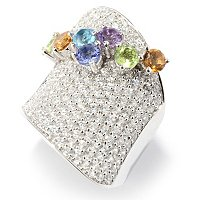SB SS/PLAT BOLD PAVE BRILLIANTE AND GENUINE MULTI-GEMSTONE OVERLAY RING