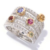 SB SS/TWO-TONE BEZEL SET MULTI GEMSTONE AND BRILLIANTE PAVE 5-ROW RING