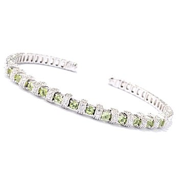 129-956 - Sonia Bitton Platinum Embraced™ 1.68ctw Peridot & Brilliante® Flex Cuff Bracelet