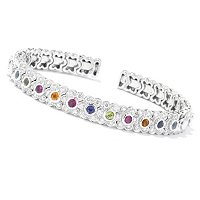 SB SS/PLAT MULTI- GENUINE GEMSTONE AND BRILLIANTE FLOWER FLEX BRACELET