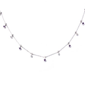 "129-959 - Sonia Bitton Platinum Embraced™ 18"" Amethyst & Brilliante® Toggle Necklace"