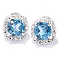 SS CUSHION LONDON BLUE TOPAZ HALO EARRING