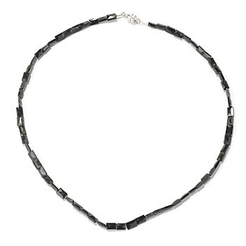 129-962 - Gem Treasures Sterling Silver 18'' Black Spinel Necklace w/ Magnetic Clasp