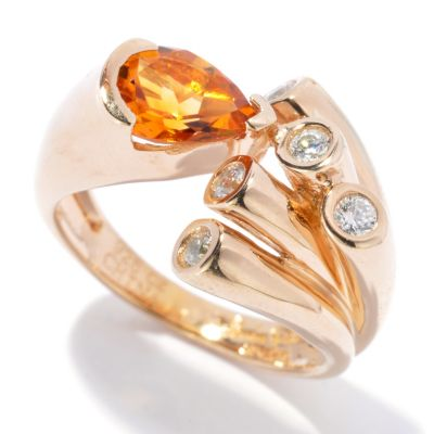 129-966 - Sonia Bitton Gold Embraced™ Pear Cut Citrine & Brilliante® Ring