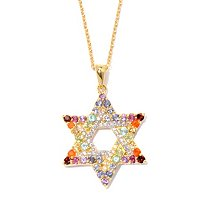 "SS/PLAT PEND EXOTIC RAINBOW STAR OF DAVID ENHANCER w/ 18"" CHAIN"