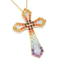 "SS/PLAT PEND EXOTIC RAINBOW CROSS ENHANCER w/ 18"" CHAIN"