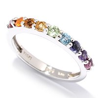SS/P RING EXOTIC RAINBOW MULTI GEMSTONE BAND