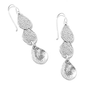 129-977 - Passage to Israel Sterling Silver Hammered Triple Teardrop Dangle Earrings