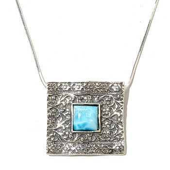 129-978 - Passage to Israel Sterling Silver 10mm Larimar Square Pendant w/ 18'' Box Chain