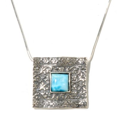 "129-978 - Passage to Israel Sterling Silver 10mm Larimar Square Pendant w/ 18"" Box Chain"